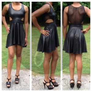 NWT Vegan Faux Leather cutout Dress